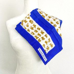 Vintage Givenchy Silk Scarf Blue White Gold Square